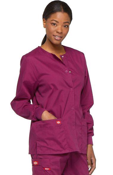 Women's Snap Front Scrub Jacket, , large