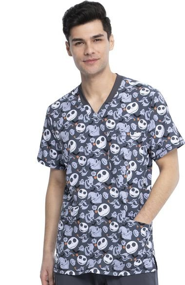 Clearance Men's Boogie With Jack Print Scrub Top, , large