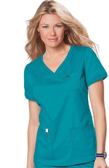 Women's Nicole Crossover V-Neck Solid Scrub Top, , large