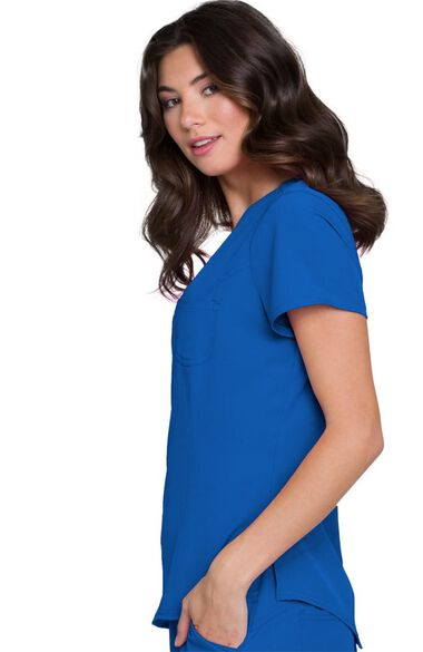 Women's Split Neck Solid Scrub Top, , large