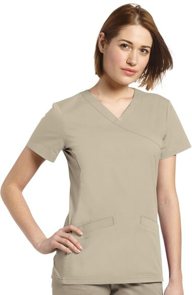 Clearance Women's Mock Wrap Knit Side Panel Solid Scrub Top, , large