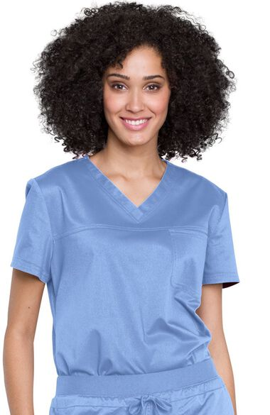 Women's V-Neck Tuck-In Solid Scrub Top, , large