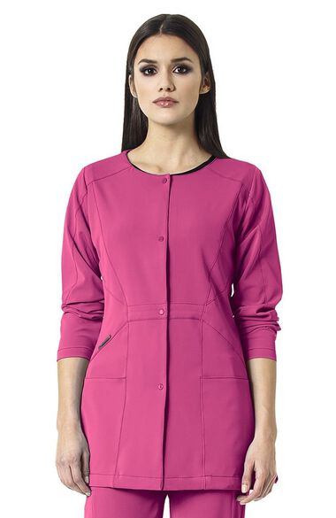 Clearance High Performance by Women's Prism Snap Front Solid Scrub Jacket, , large
