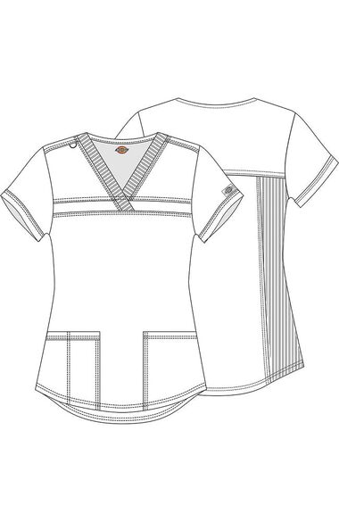Women's V-Neck Rib Knit Panel Solid Scrub Top, , large