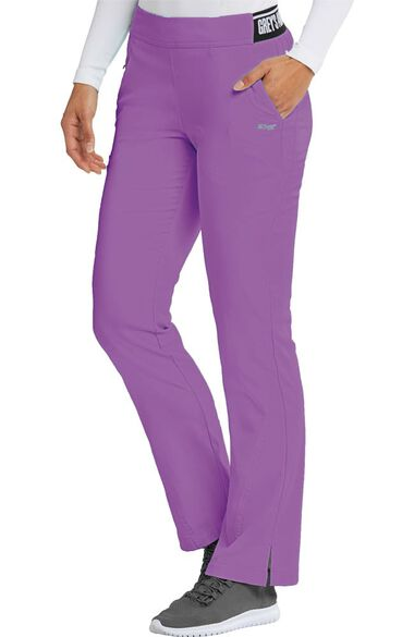 Clearance Spandex Stretch by Grey's Anatomy Women's Logo Waist Boot Cut Scrub Pant, , large