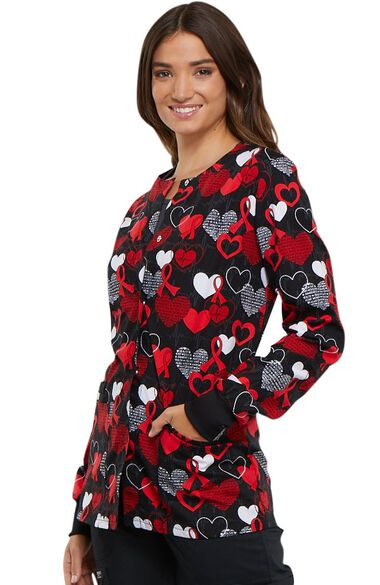 Clearance Women's Snap Front Heart Print Scrub Jacket, , large