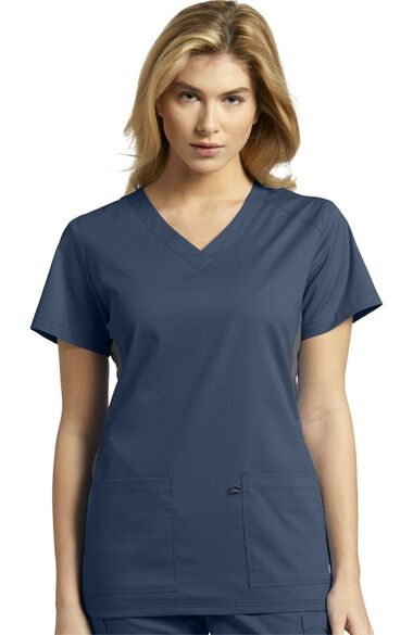 Women's Contrast Side Panel Solid Scrub Top, , large