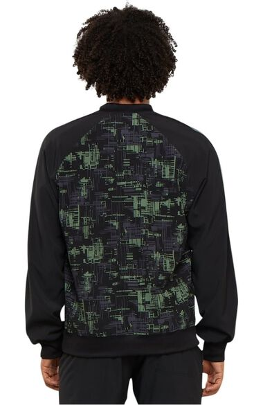 Clearance Men's Zip Front Abstract Print Scrub Jacket, , large