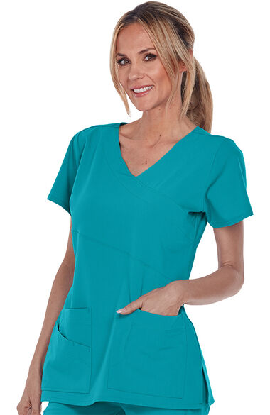 Signature by Grey's Anatomy Women's Mock Wrap Solid Scrub Top, , large