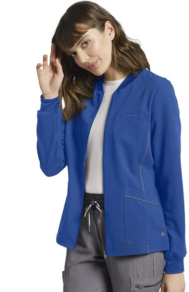 Women's Patch Pocket Zip Up Solid Scrub Jacket, , large