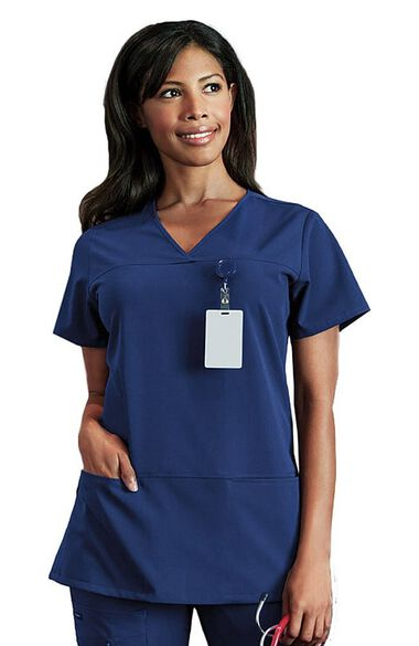 Women's 6 Pocket Solid Scrub Top, , large