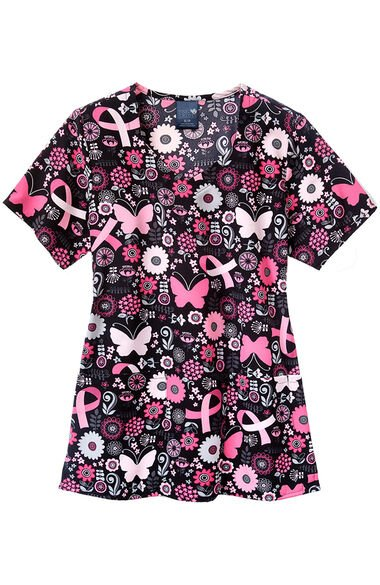 Women's Butterflies And Bows Print Scrub Top, , large