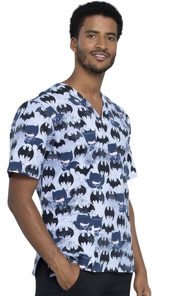 Clearance Unisex Knight Out Print Scrub Top, , large