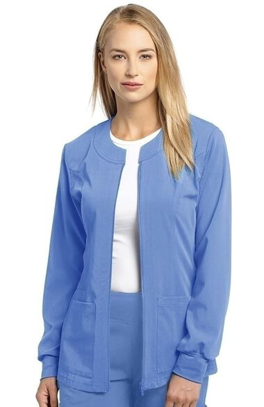 Women's Jewel Neck Zip Front Scrub Jacket, , large