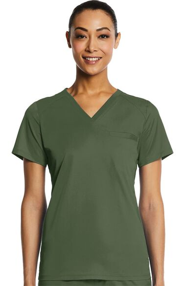 Women's Sporty V-Neck Solid Scrub Top, , large