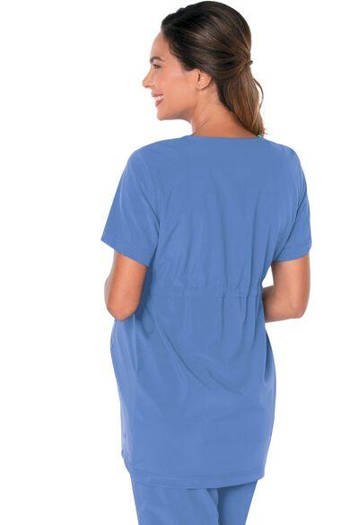 Women's Maternity V-Neck Empire Waist Tunic Solid Scrub Top, , large