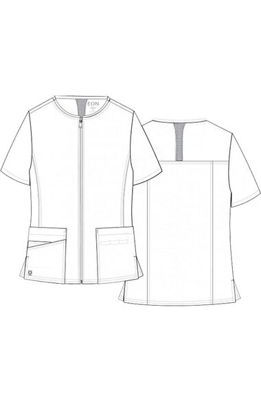 Women's COOLMAX Short Sleeve Zip Front Solid Scrub Jacket, , large