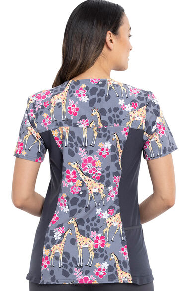 Women's Spotted In The Wild Print Scrub Top, , large
