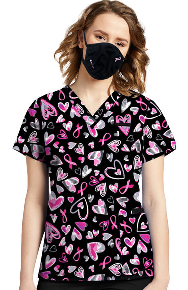 Women's 3 Layer Breast Cancer Awareness Print Face Mask, , large