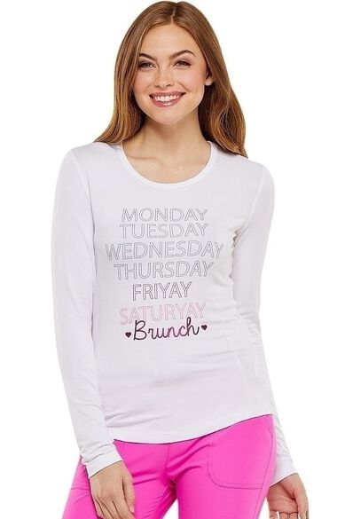 Clearance Women's Long Sleeve Knit Solid Underscrub T-Shirt, , large
