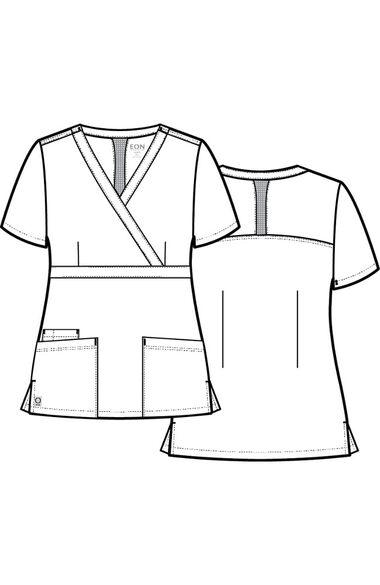 Women's COOLMAX Mock Wrap Mesh Panel Solid Scrub Top, , large