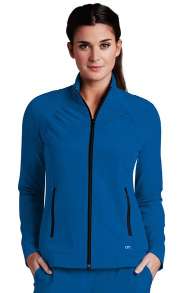 Women's Stand Collar Zip Up Solid Scrub Jacket, , large