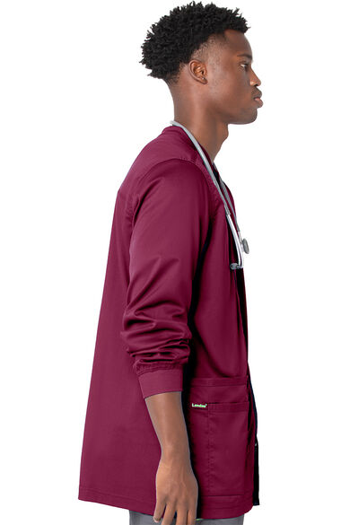 Men's Knit Collar Snap Front Solid Scrub Jacket, , large