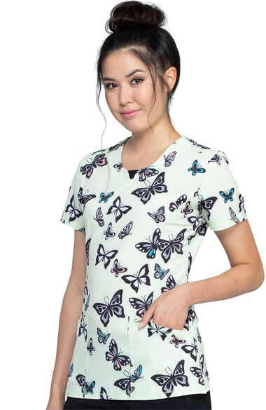 Clearance Women's Let's Fly Print Scrub Top, , large