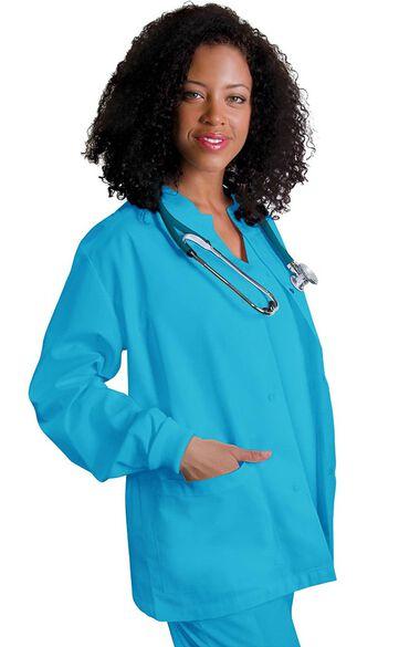 Women's Round Neck Warm-Up Solid Jacket, , large
