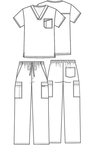 Men's V-Neck Top & Utility Pant Scrub Set, , large