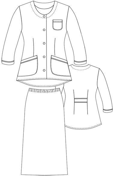 Women's 2 Piece ¾ Sleeve Scrub Jacket and Skirt Set, , large