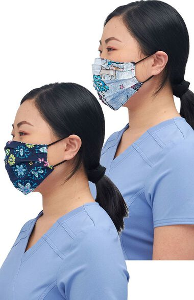 Clearance Women's Reversible Floral Pawsome Print Face Mask, , large