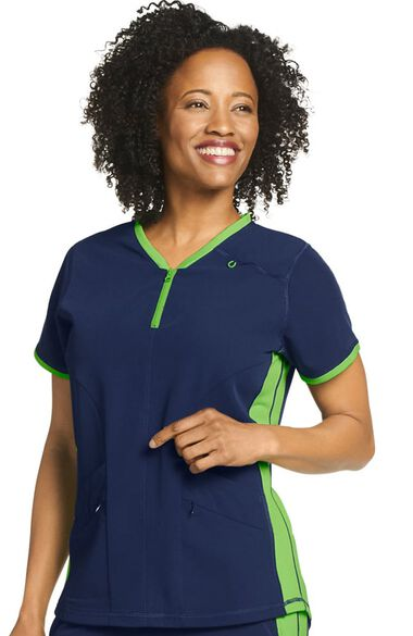 Clearance Women's Air Condition Zippered Solid Scrub Top, , large