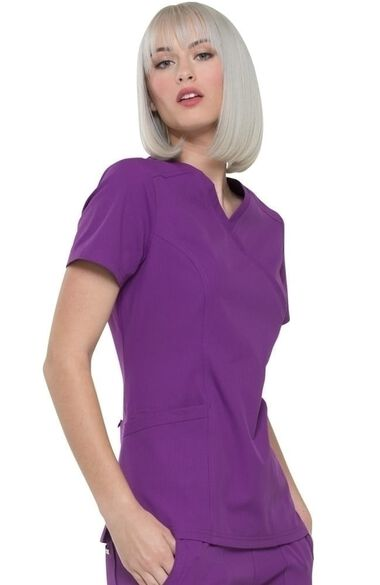 Clearance Women's Mock Wrap Solid Scrub Top, , large
