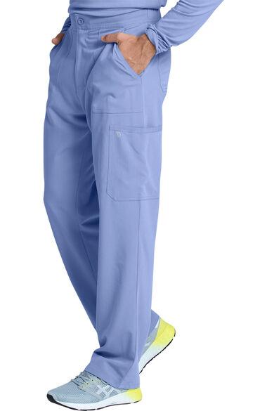 Men's Solid Scrub Top & Cargo Scrub Pant Set, , large