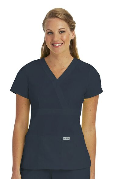 Grey's Anatomy Classic Women's Mock Wrap Solid Scrub Top, , large