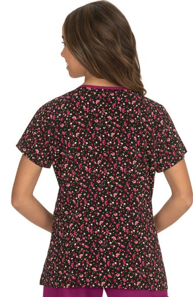 Clearance Women's Rose Ditsey Floral Raspberry Print Scrub Top, , large