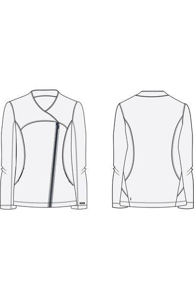 Clearance iMPACT by Grey's Anatomy Women's Asymmetric Zip Solid Scrub Jacket, , large
