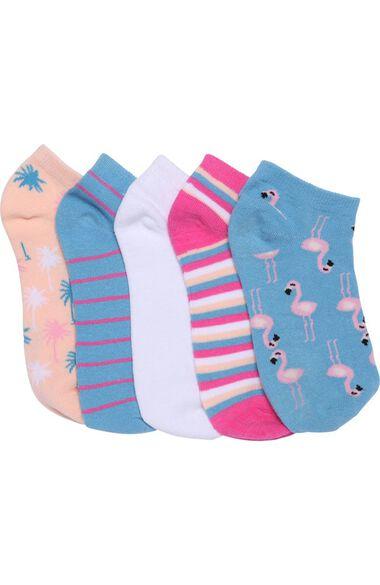Women's 5 Pack Flamingo Fun Print Crew Socks, , large