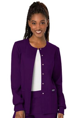 Women's Snap Front Solid Scrub Jacket