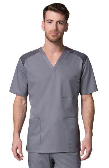 Men's COOLMAX V-Neck Mesh Panel Solid Scrub Top, , large