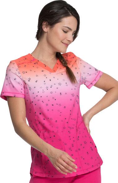 Women's Fading Starlight Pint Scrub Top, , large