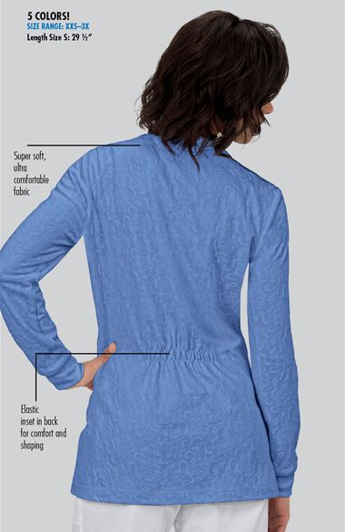 Women's Claire Button Front Solid Cardigan Scrub Jacket, , large