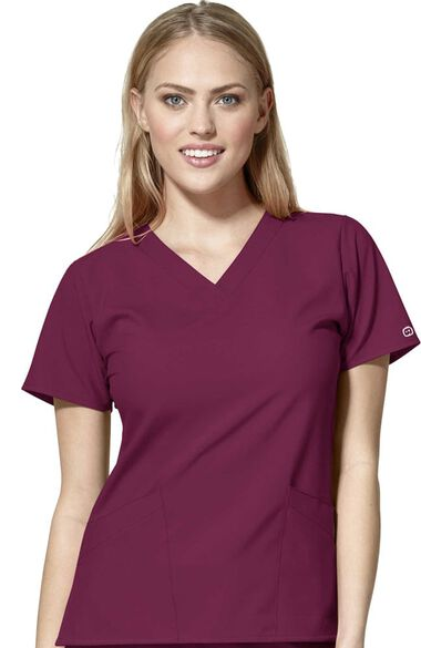 Women's Classic V-Neck Solid Scrub Top, , large