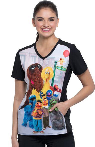 Clearance Women's V-Neck Sesame Friends Print Scrub Top, , large