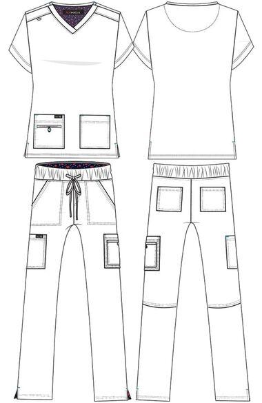 Women's Becca V-Neck Solid Scrub Top & Holly Drawstring Scrub Pant Set, , large