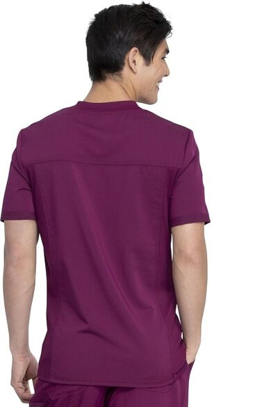 Men's Knitted Panel Solid Scrub Top, , large