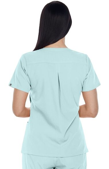 Clearance Signature by Grey's Anatomy Women's Mock Wrap Asymmetrical Drape Solid Scrub Top, , large