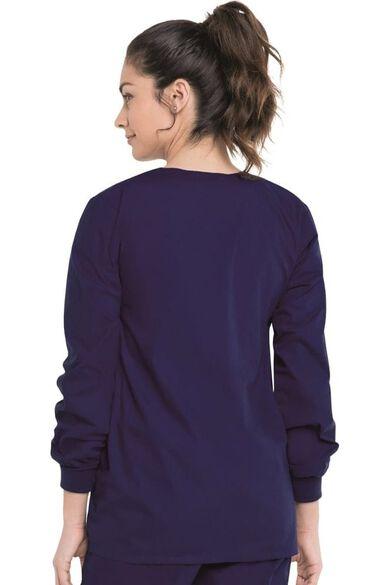 Women's Crew Neck Warm-Up Solid Scrub Jacket, , large