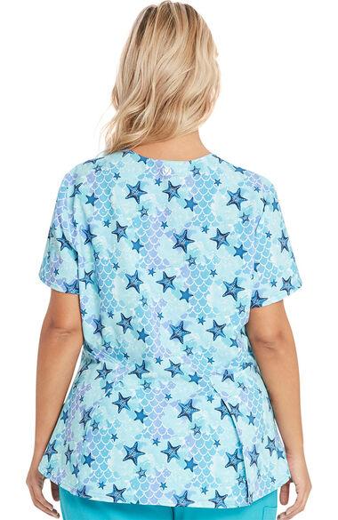 Women's Ocean Dream Ariel Print Scrub Top, , large